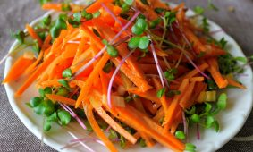 Francia sárgarépa saláta mikrozölddel