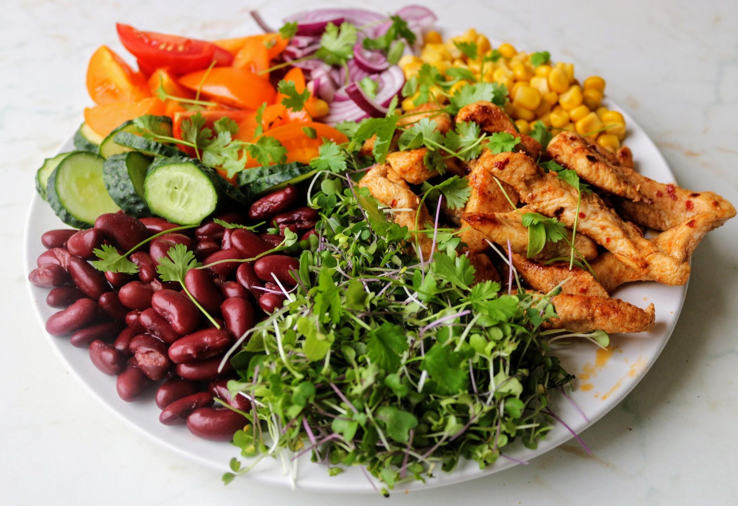 Mexikói csirkés salátatál joghurtos öntettel